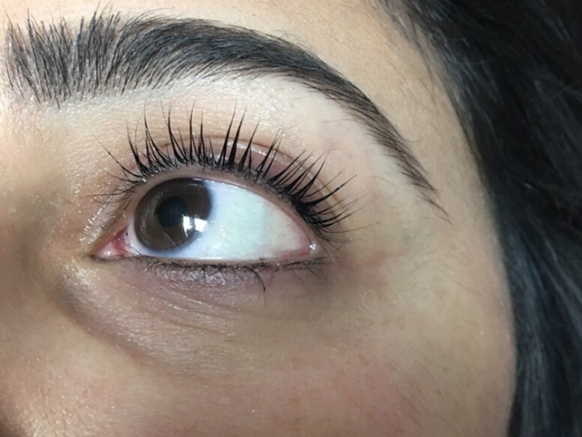 YUMI Lash Lift. Left eye. Front view.