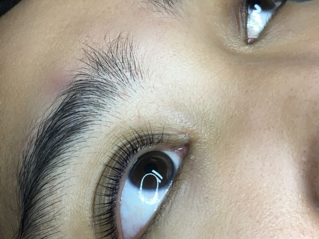 Beautiful YUMI Lash Lift. Side view.
