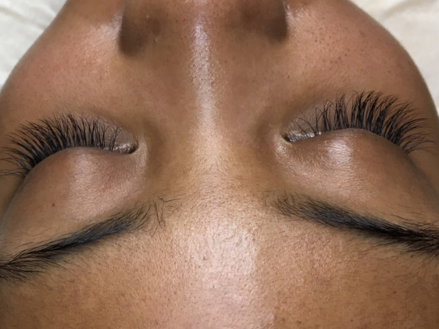 Classic lash extensions. Top view.