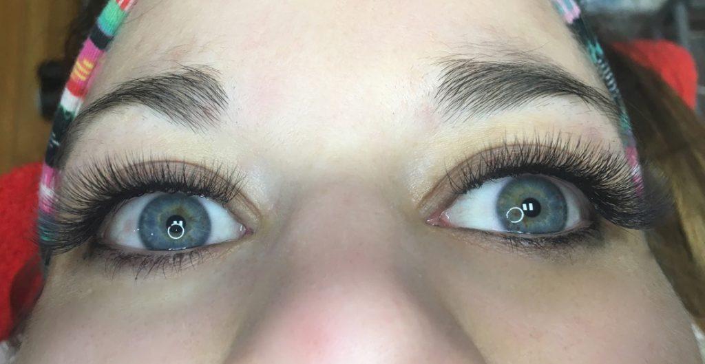 3D Volume eyelash extensions. Front view. Sofia lashes.