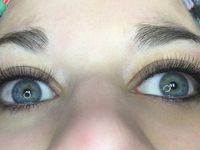 3D Volume eyelash extensions. Front view. Sofia lashes.